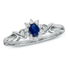 Oval Sapphire and Diamond Twist Ring in 10K White Gold