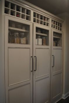 Love the use of the wine cubbies and the glass tops of the pantry units Cottage Kitchens, Home Kitchens, Dream Kitchens, Pantry Laundry Room, Wall Pantry, Kitchen Pantry, Built In Pantry, Pantry Design, Fireplace Remodel