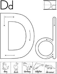 Alphabet Letter D Worksheet | Preschool Printable Activity | Standard Block Font