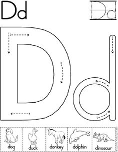 alphabet letter d worksheet preschool printable activity standard block font