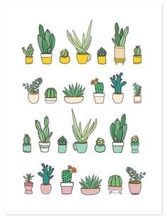 Ideas for bullet journal doodles Succulents Print, hand drawing. #bujo