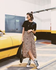 spring style | summer fashion | midi wrap leopard print skirt | basic black tee | converse | casual | edgy chic