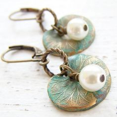 Little Lily Pad Earrings. Verdigris Brass Lotus Leaf with Pearl.