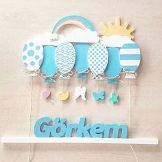 Kids Corner, Names, Blue Balloons, Ring Sling, Ornament, Puertas, Woodwind Instrument, Welcome, Embellishments