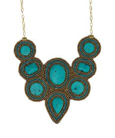 Look what I found on #zulily! Turquoise & Goldtone Beaded Bib Necklace #zulilyfinds