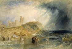 Joseph Mallord William Turner 'Holy Island, Northumberland', c.1829 - Watercolour on paper -  Dimensions Support: 292 x 433 mm -  © Victoria and Albert Museum