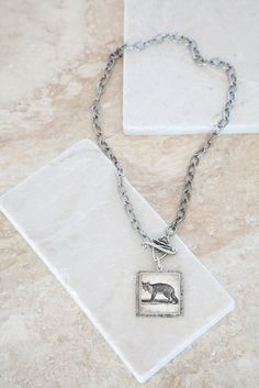 Vintage Fox & Wrapped Toggle Silver Plated Pendant Necklace