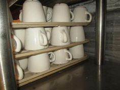 Approx 60 Misc. Coffee Cups & 12 Trays. ONLINE ONLY AUCTION - Ending Tuesday, July 22, 2014. Prairie Farm, WI.