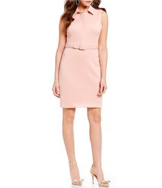 Belle Badgley Mischka Dakota Belted Collared Dress | Dillard's Collared Dress, Badgley Mischka, Dillards, Dresses For Work, Jackets, Clothes, Shopping, Fashion, Down Jackets