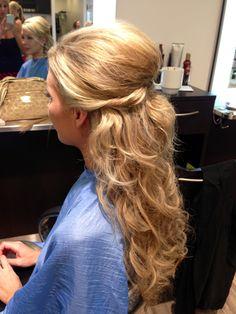 Bridal hair half up.  Less teased, but I like the twist