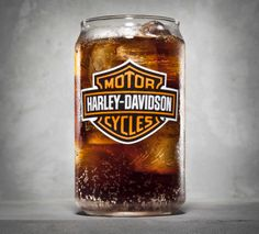 Toast your Valentine with a fun spin on a bubbly beverage favorite. | Harley-Davidson Bar & Shield Logo Soda Can Glass