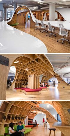 This giant curvy desk accommodates a lot more people than a normal desk and..looks so damn cool!