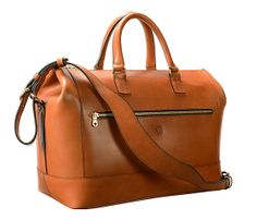 Glaser Designs Handmade hand-burnished chestnut brown saddle leather briefcases messenger duffel Club Bag 17 x 10 x 8""