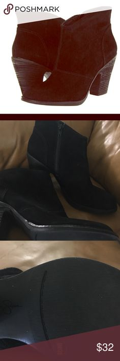 """Jessica Simpson booties !! Worn leather construction furthers the earthy vibe of a simplified stacked-heel bootie. 3"""" heel (size 9M 3 3/4"""" boot shaft. Side zip closure. Leather upper/synthetic and textile lining/synthetic sole. By Jessica Simpson; imported. BP. Shoes. Jessica Simpson Shoes Ankle Boots & Booties"""