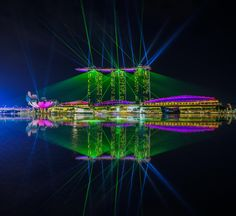 Singapore Marina Bay Sands Hotel Laser Show name Wonderful - Marina Bay Sands Singapore Wonderful Laser Show at night