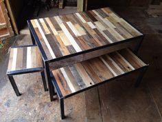 This unique,handmade,upcycled,reclaimed pallet wood dining table set, with 'on trend'  industrial looking formed steel legs, would look stunning in your home & generate many conversations! It's beautifully colourful patina comes from the varied woods used to make pallets that have travelled around the world. So each piece tells a story!  Check out our shop on Etsy-   https://www.etsy.com/uk/shop/LoremMauris
