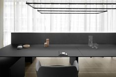 The high care for the details and the selected new natural materialssuch as frosted graphite lacquered glass and tactile oak wood finishingmakes K_Word workplaces. E Piano, It Is Finished, Lighting, Words, Minimalism, Lights, Lightning, Horse