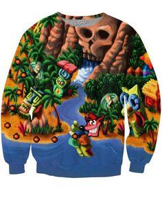 Crash Bandicoot Map Crewneck Sweatshirt | Mopixiestore.com
