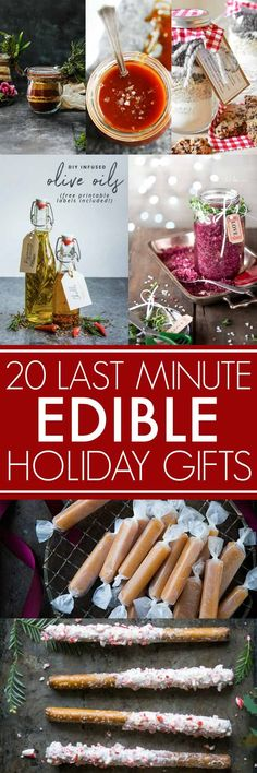 These 20 Last Minute DIY Edible Holiday Gifts are easy to make in an afternoon and make perfect Christmas gifts to give to all of your foodie friend Diy Christmas Baskets, Edible Christmas Gifts, Diy Christmas Presents, Handmade Christmas Gifts, Edible Gifts, Holiday Gifts, Christmas Diy, Last Minute Christmas Gifts Diy, Christmas Boxes