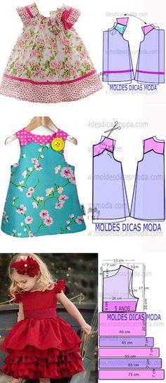 MOLDE VESTIDO INFANTIL FLORAL...