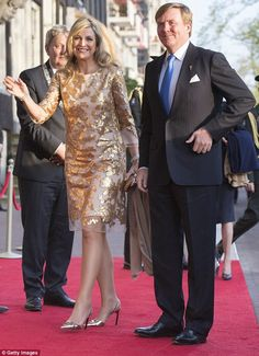 The Argentinian-born royal wore metallic court shoes matching her show-stopping dress...