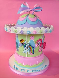 My little pony carousel cake, kid birthday cake,