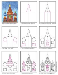 Draw Russian Buildings · Art Projects for Kids Architecture for kids can include drawing buildings from different countires. Those is Russia are fun and colorful and have Drawing Projects, Drawing Lessons, Art Lessons, Art Projects, Drawing Ideas, Drawing For Kids, Art For Kids, 4th Grade Art, Building Art