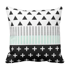 Trendy Elegant Mint, Black,  & White Shapes Throw Pillow. ** Take a look at even more by visiting the photo