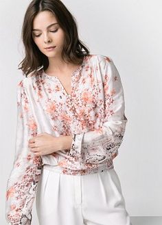 Mixed print blouse