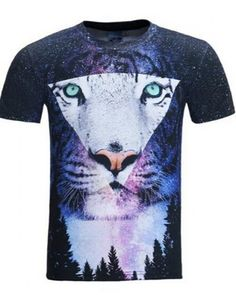 179b72f95a65 Cool 3D animal tiger t shirt for men blue galaxy pattern Geometric Tiger