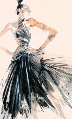fashion illustration - by David Downton. Love the style of illustration! Art And Illustration, Fashion Illustration Sketches, Fashion Sketchbook, Fashion Design Sketches, Fashion Drawings, Sketch Fashion, Design Illustrations, Fashion Designers, Illustrations Posters