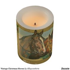 Vintage Christmas Horses Flameless Candle
