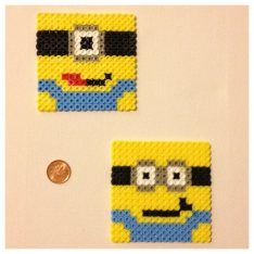 Minions coasters hama beads by BambiLeigh