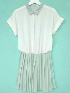 Turquoise Lapel Short Sleeve Pleated High Waist Chiffon Dress