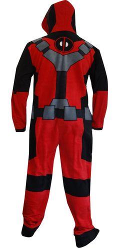WebUndies.com Marvel Comics Deadpool Hooded Fleece Onesie Pajama be6835679