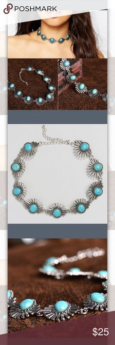 Turquoise and silver boho choker Cute fashion boho choker beautiful silver and turquoise colors. Jewelry Necklaces