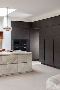 Dark concrete finish cabinets - Eggersmann Design creates 'The dream kitchen' - a luxurious bespoke kitchen design tailored around their client's specifications and lifestyle. Designs feature over on the Martyn White Designs Interiors blog. #kitchen #bespokekitchen #interiordesign White Interior Design, Luxury Homes Interior, Modern Kitchen Design, Interior Design Kitchen, European Kitchens, White Kitchens, Dream Kitchens, Concrete Kitchen, Concrete Bathroom