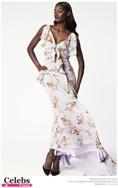 ZAC Zac Posen (Spring-Summer 2014) R-T-W collection at New York Fashion Week #Anna_Cleveland, #Melodie_Monrose