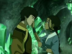 Prince Zuko and Katara with Katara touching his burned scar of his face in the crystal catacombs prison from Avatar The Last Airbender Zuko And Katara, Avatar Aang, Blue Avatar, Avatar Funny, Photo Wall Collage, Picture Wall, Avatar Theme, Avatar Images, Avatar Picture