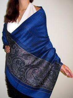 Royal Blue Shiny Dressy Evening Shawl Wrap