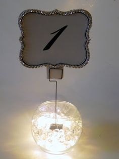 Wedding DIY ~ Table Number Lighted Centerpiece- add in the fall stuff?  What do you guys think?
