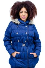 Plus Size Hooded Belted Puffer Coat Blue