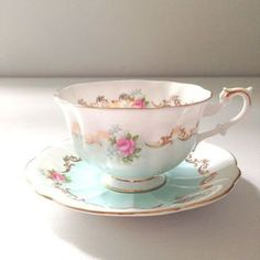 English Bone China Royal Albert Teacup & Saucer Invitation Series Chateau Blue / Soft Aqua Avon Shape Rare - Ca. 1962 - from MariasFarmhouse on Etsy. Tea Cup Set, My Cup Of Tea, Tea Cup Saucer, Tea Sets, Vintage Cups, Shabby Vintage, Vintage China, Vintage Party, China Cups And Saucers