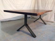 Bookmatched walnut on steel Y leg | Bjorling Grant