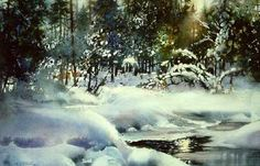 Deep Woods Winter by watercolor artist Nita Engle available from Snow Goose Gallery