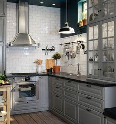 Ikea catalog for 2018 – Check the best ideas … – Modern Bedroom Decoration Kitchen Decor, Kitchen Inspirations, Home Decor Kitchen, Black Kitchen Decor, Home Kitchens, Kitchen Remodel Small, Kitchen Design Small, Black Kitchen Countertops, Ikea Bodbyn Kitchen