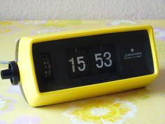 Klappzahlen-Wecker+ JUNGHANS +alarm flip clock+70er Original