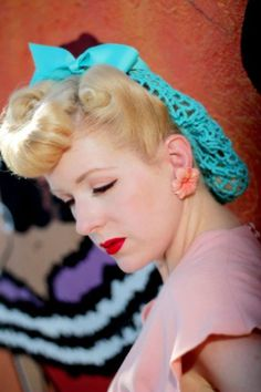 Vintage Retro Pinup Hair Snood in Turquoise Crocheted from  1940's Design Featured in Victory Girls Magazine. $19.99, via Etsy.