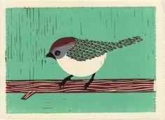 BUSHTIT bird illustration linocut block art print blue by annasee, $32.00