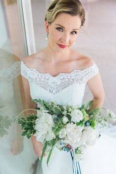 Love the classic glam look with off shoulder. View the full wedding here: http://thedailywedding.com/2016/07/04/4th-of-july-americana-wedding-inspiration/